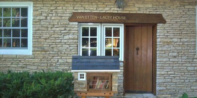 """The newly constructed """"Free Little Library"""" modeled after the Van Etten-Lacy House  Photo Courtesy of: The Center for Literary Arts"""