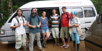 Members of Marty Condon's team take a quick break from their research in the tropics.  Photo courtesy of: Cornell College Biology Department