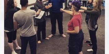Students work together during an improv workshop Source: Cornell College Facebook